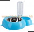 不鏽鋼食碗連飲水器  中碼(不設選色)